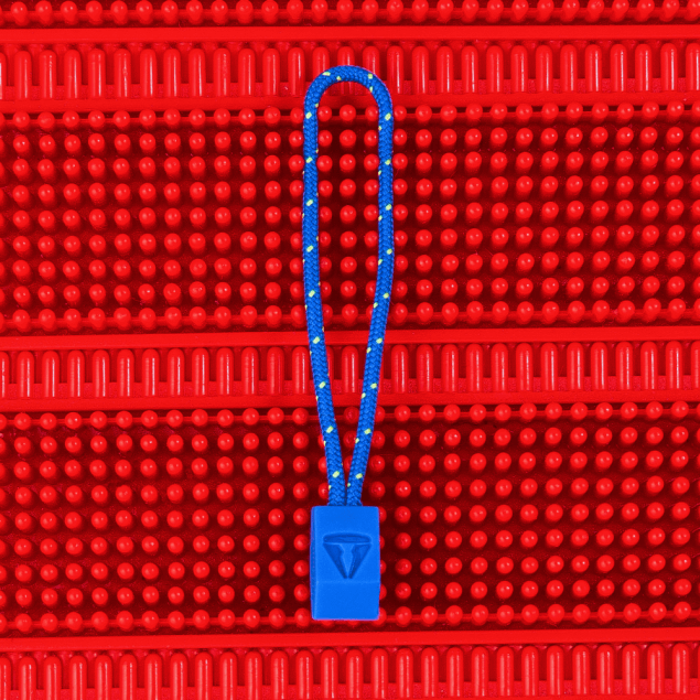 Hollow Plastic Zip Pull with Debossed Emblem and Two-Tone Cord